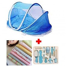 Baby Bed With Net + Grooming Kit + Towel - Blue