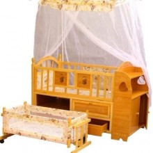 Quality Double Baby Cot With Net and Drawers
