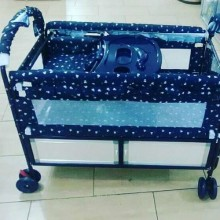 Baby Metal Cot With Net - Blue