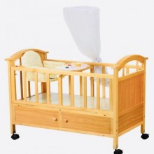 3-in-1 Wooden Baby Cot With Drawers and Net - Brown