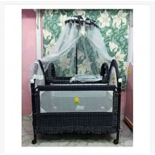 Baby Metal Cot With Net & Cabinets - Blue