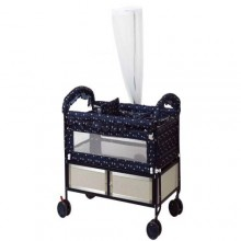 Baby Metal Cot With Net And Feeding Tray- Blue