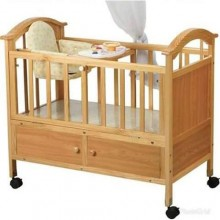 Wooden Baby Bed/Cot and Net - Brown