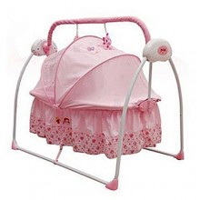 Electric Primi Rocking Baby Bed With Mosquito Net - Pink