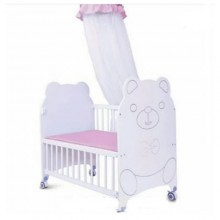 Happy Baby Bed/Cot - White/Pink