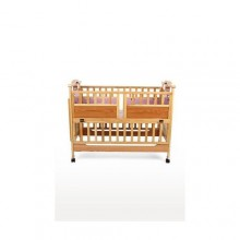 Simple Wooden Baby Cot - Brown