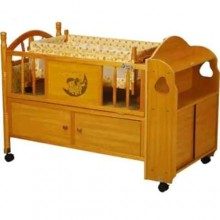 Comfortable Wooden Baby Bed - Brown