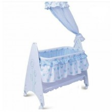 Swinging Baby Bed/Cot - White/Blue