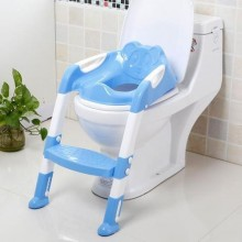 Potty Trainer Seat Chair For Toddler With Ladder - Blue/White