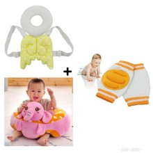 Baby Sit Up Trainer Cushion + Head Support + Crawling Knee Pad - Multicolour