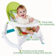 High Quality Baby Bouncer/Rocker With Feeding Tray - White/Green