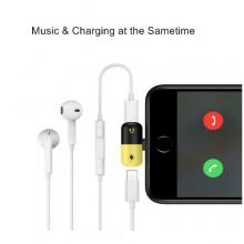 Audio & Lightning Splitter Adapter for iPhones - Yellow/Black