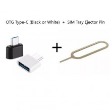 USB OTG Type-C Adapter (Black or White) + SIM Tray Ejector Pin