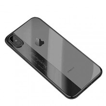 iPhone X Max Case Electroplating Letter Luxury Frame Clear TPU Case - Black