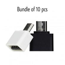 Mini USB OTG Adapter Bundle - 10PCs - Black/White