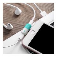 Audio & Lightning Splitter Adapter for iPhones - Green/White