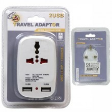 13A max 110-250V Travel Adapter With USB Ports - White