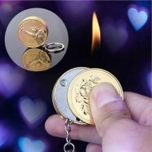 Metal Pendant Coin Bar Keychain Lighter - Gold