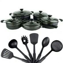 Amel Non-Stick Cookware Set - 16Pieces Black