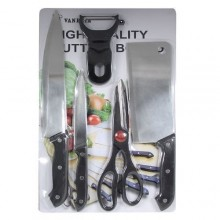 Knife Set with Chopping Board - 5 Pieces