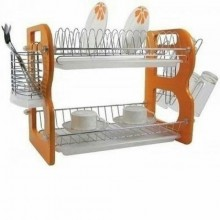 Double Layer Dish/Plate Rack - Brown/Silver
