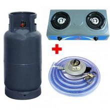 ICONA Gas Cylinder - 15kg + 2 Burner Table Top Cooker + Hose Set - Dark Grey
