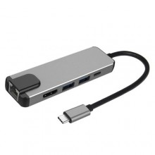5 In 1 USB 3.0 Type C Hub Adapter - Grey