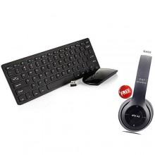 New Keyboard & Mouse Combo - Black + FREE BT Headphone - Black