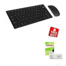 Mini Wireless Keyboard & Mouse Combo - Black + FREE 32GB Toshiba Pendrive