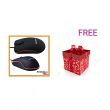 Lenovo Wired USB Optical Mouse - Black + Free Mistry Gift