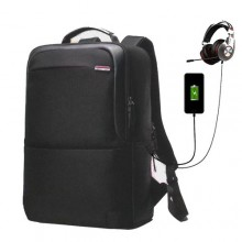 Omaya Multi-Functional Backpack With USB & Earpiece Port - Black + Power Bank