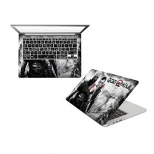 15.6 inches Front and Back Laptop Sticker - Grey/Multicolour
