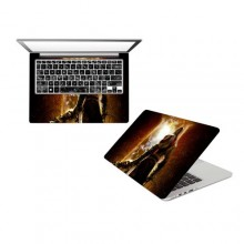 15.6 inches Front and Back Laptop Sticker - Dark Brown