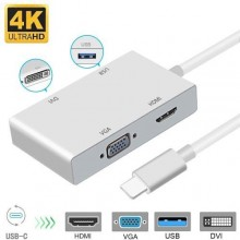 4 in 1 USB 3.1 Type C to HDMI Digital Multiport Adapter with Charging Port LBQ - White