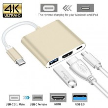 3 In 1 Type C USB 3.1 To USB-C 4K HDMI USB 3.0 Adapter Hub - Gold
