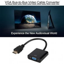 HDMI to VGA Video Converter Adapter FHD 1080P Cable - Black