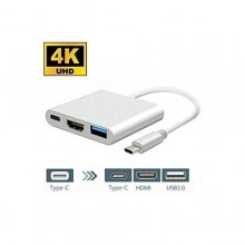 3 In 1 Type C USB 3.1 To USB-C 4K HDMI USB 3.0 Adapter Hub - White