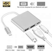 Type C USB 3.1 To 4K HDMI USB3.0 Adapter 3 In 1 Hub For PC - Silver