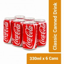 Coca-Cola Classic Canned Drink - 330ml x 6 Cans